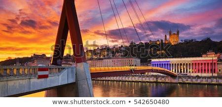 Famoso ponte Lyon pôr do sol França sol Foto stock © vwalakte