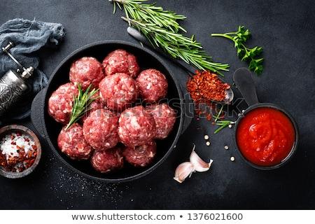 Surowy drewna tle piłka pomidorów gotowania Zdjęcia stock © M-studio
