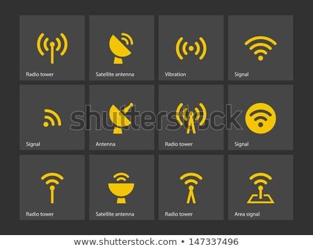 Radio signal jaune vecteur icône design Photo stock © rizwanali3d