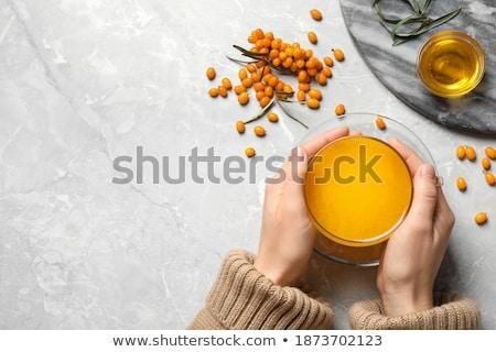 Mulher copo bebida quente belo mulher jovem Foto stock © fanfo