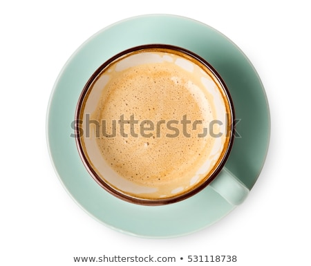 Blue cup of coffee on a white table Stock photo © CaptureLight