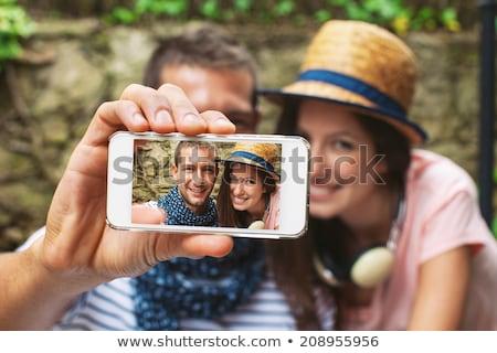 Studenten zelfportret bos natuur Stockfoto © zurijeta