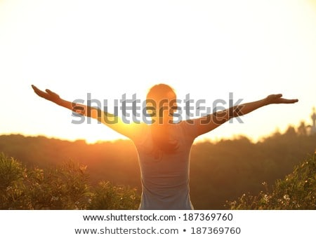 woman with arms outstretched celebrate mountains sunrise stock photo © blasbike
