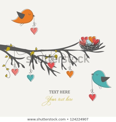 aves · ramo · primavera · natureza · coração - foto stock © get4net