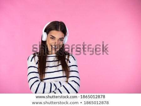 gelukkig · vrolijk · meisje · luisteren · muziek · Blauw - stockfoto © deandrobot