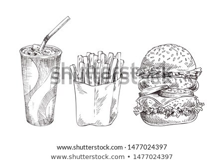 Cola paper cup with french fries monochrome icon Stock photo © robuart