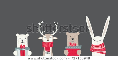 Merry Christmas Holiday Banner with Bear in Scarf Stock photo © robuart