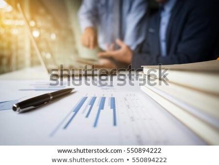 ストックフォト: Teamwork Process Blur Background Businessmen Hands Pointing At