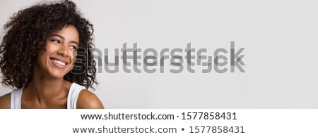 Panorama banner blijde jonge vrouw hoofd Maakt een reservekopie Stockfoto © Giulio_Fornasar