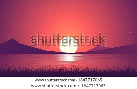Moon On Water Horizon Stock photo © albund
