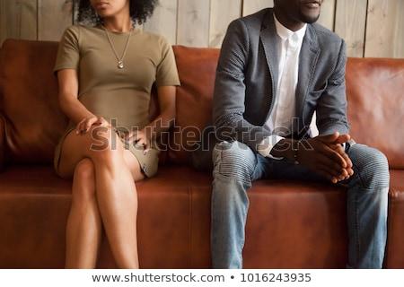 Afro-amerikaanse paar strijd echtscheiding vrouw achtergrond Stockfoto © AndreyPopov