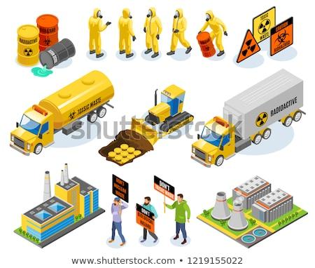 Jądrowej odpadów pojemnik izometryczny ikona wektora Zdjęcia stock © pikepicture