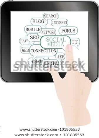 Text Keywords On Social Media Themes Tablet Pc Stock fotó © fotoscool