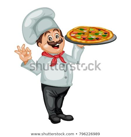 Happy chef holding pizza stock photo © wavebreak_media