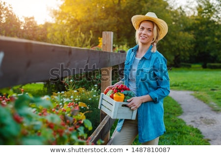 Beautiful Woman and Bell peppers Stock photo © piedmontphoto