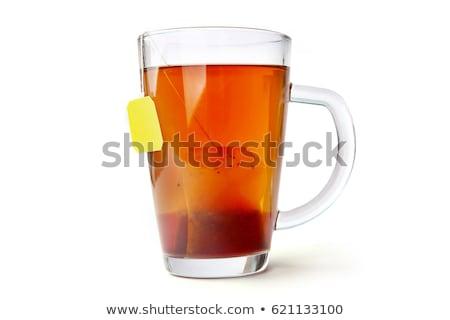 Hot beker thee theepot voorraad foto Stockfoto © nalinratphi