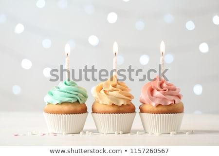 bir · doğum · günü · mutlu · yıllar · mum · yanan - stok fotoğraf © meinzahn