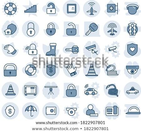 защищенный знак синий вектора икона кнопки Сток-фото © rizwanali3d