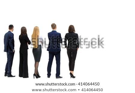 Rückansicht Geschäftsmann gestikulieren Business Mann Kommunikation Stock foto © imagedb