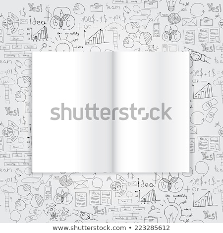 magazine or book with drawing business strategy plan concept idea stock photo © netkov1