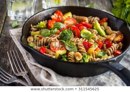 Foto stock: Vegetal · macarrão · italiano · espaguete · fresco · caseiro