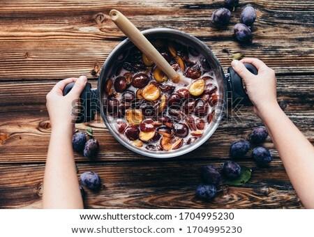 erik · reçel · çanak · ev · yapımı · meyve · tatlı - stok fotoğraf © Digifoodstock