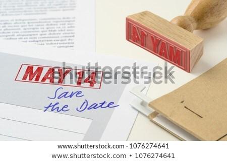 Piros bélyeg irat 14 születésnap jegyzet Stock fotó © Zerbor