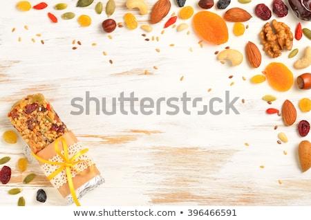 Stock fotó: Házi · készítésű · organikus · granola · gabonapehely · bár · diók