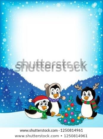 Karácsony keret boldog művészet tél madarak Stock fotó © clairev