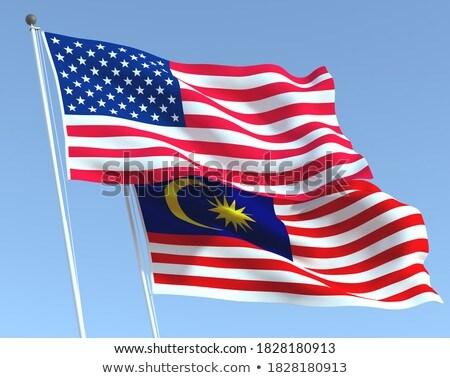 Kettő integet zászlók Egyesült Államok Malajzia izolált Stock fotó © MikhailMishchenko