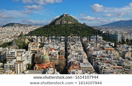 Cityscape of Athens with Lycabettus Hill Foto stock © neirfy