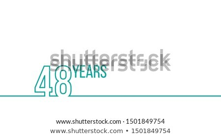 Stock photo: 48 years anniversary or birthday. Linear outline graphics. Can be used for printing materials, brouc