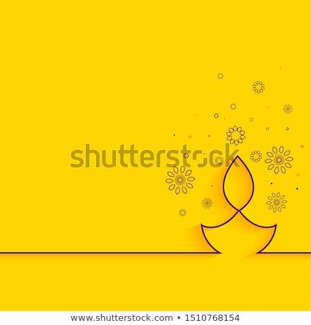 happy diwali line diya festival card design Stock photo © SArts
