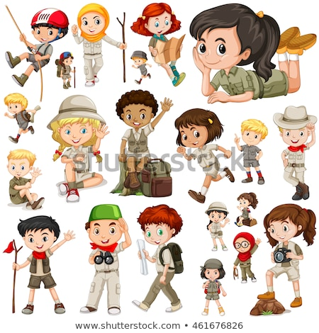 Girl in safari outfit on white background Stock photo © bluering