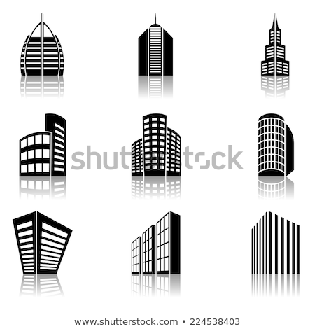 built residential buildings icon vector outline illustration Stock photo © pikepicture