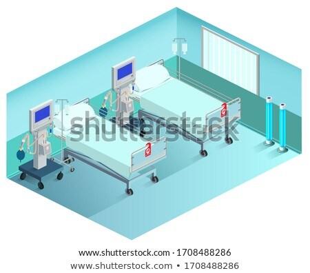 Intensive care unit medical ward with ventilator. 3d isometric Stock photo © orensila