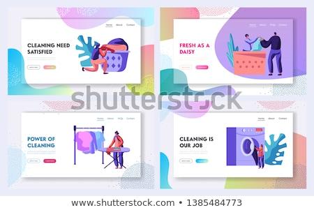 Lavanderia lavagem roupa serviço bandeira vetor Foto stock © pikepicture