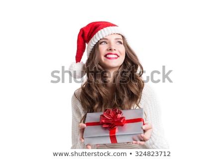 サンタクロース ヘルパー クリスマス 少女 現在 美しい ストックフォト © Kurhan