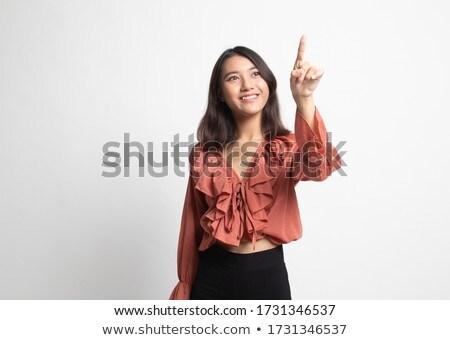 ázsiai · nők · érintőképernyő · mosolyog · lány · kéz - stock fotó © yuliang11