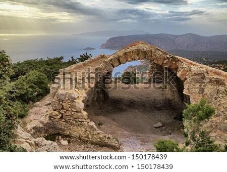 View through the wall opening of Monolithos castle. Stock photo © tuulijumala