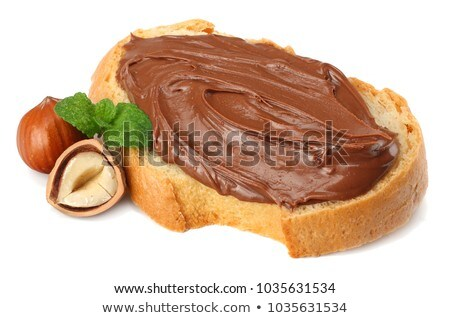Fatia avelã chocolate creme bolo servido Foto stock © aladin66