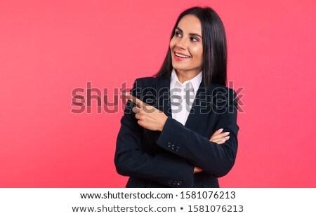 Fora mulher mão para cima cara olhos Foto stock © jayfish