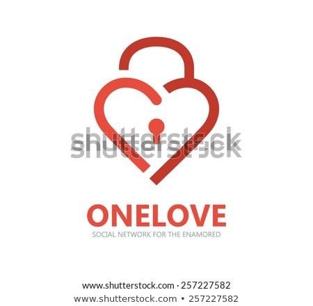 vermelho · coração · numérico · seguro · trancar · isolado - foto stock © dvarg