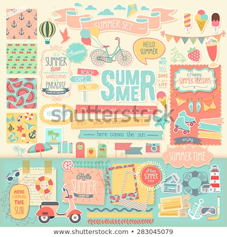 Summer time scrap card in vintage style , vector Stock photo © carodi