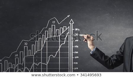 Eredmények grafikon iskolatábla kéz rajz fehér Stock fotó © ivelin