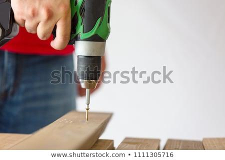 Elem kéz fúró bit áll deszkák Stock fotó © juniart