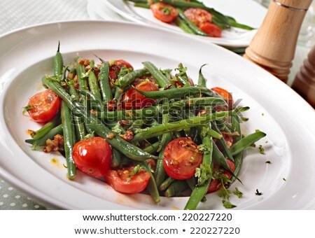 Groene bonen tomaat voedsel maaltijd gezonde boon Stockfoto © M-studio