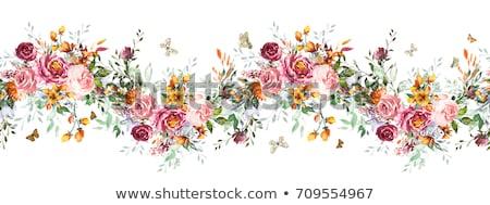 Absztrakt művészi virágmintás keret háttér keret Stock fotó © pathakdesigner
