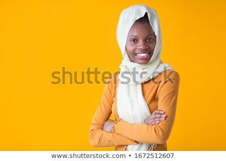 beauty young happy afro american woman in shawl on head stock photo © iordani