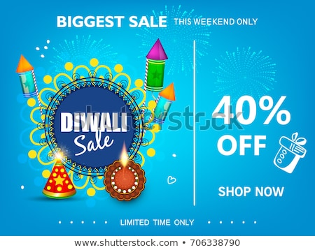 Stock photo: happy diwali sale background with burning crackers